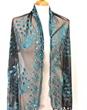 """All Hand Made Peacocks Sequined Scarf ,Beautiful Designs , Elegant and Fashion Peacock For All Year Round , Soft Touch w/Convenient Size at 24inch Width x 62inch Length"""" + 5inch Fringe x2 ..."""