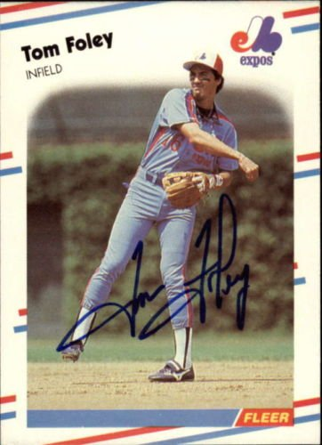 TOM FOLEY EXPOS SIGNED BASEBALL CARD 1988 FLEER #183 ID #40998