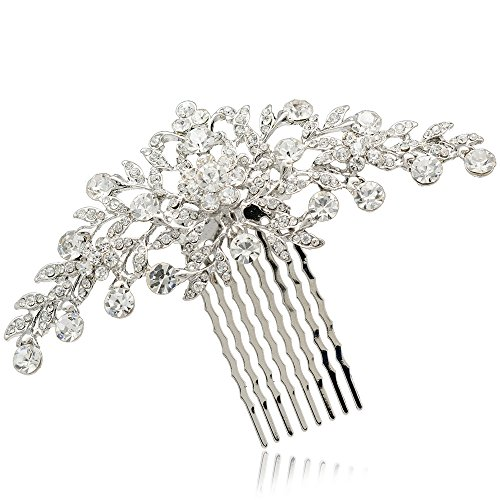 Rhinestone Crystal Hair Comb Pins Women Wedding Hair Jewelry Accessories FA2944 (Silver)