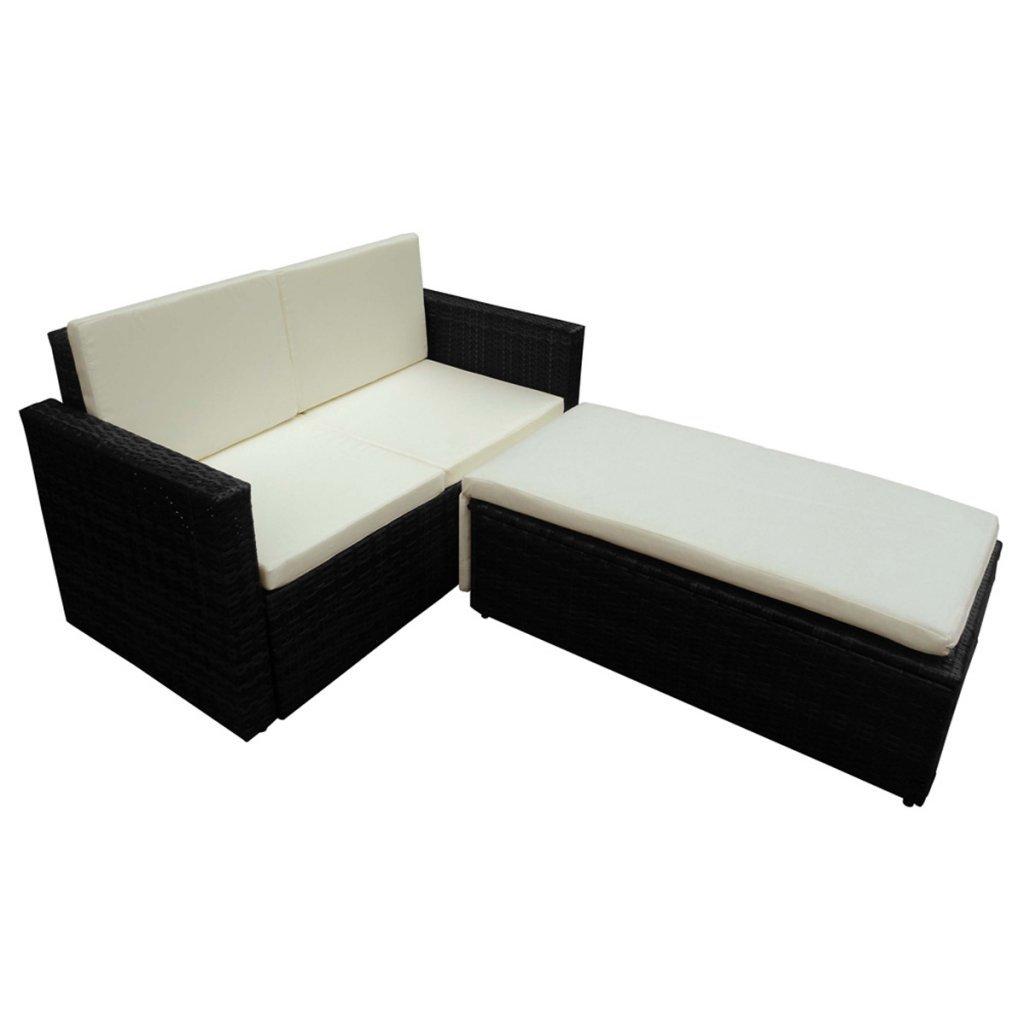 vidaXL Poly Rattan Möbel schwarz VARIABEL