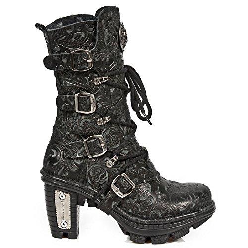 New Rock NEOTR005 - S25 bassa floreale gotico nero punk rock stivali di pelle donne 39