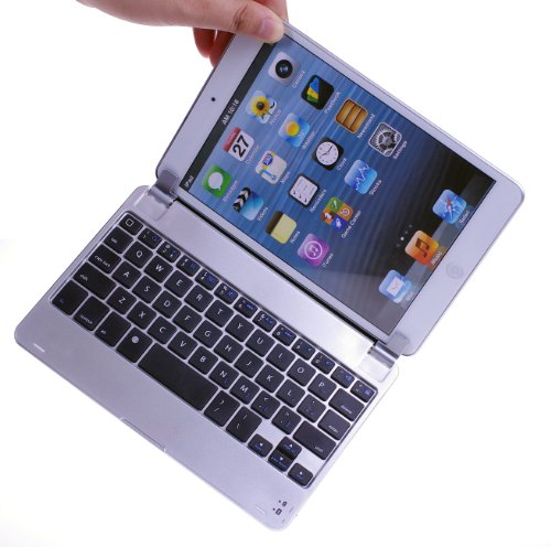 BATTOP Aluminum Wireless Bluetooth Keyboard Case Cover with Stand / Holder for iPad MINI - With Auto Wake / Sleep