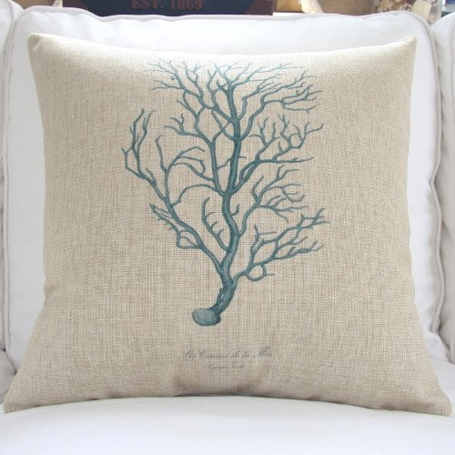 "Euphoria® Home Decorative Cushion Covers Pillows Shell Cotton Linen Blend Teal Coral 18"" X 18"" front-933532"