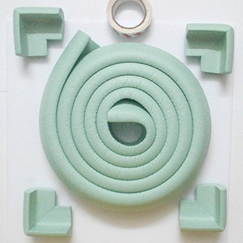 eBus L Form Baby Child Kids Safety Safe Table Desk Edge Cushion Protector with Tape + 4 Corner Guards (2 Meters, Aqua)
