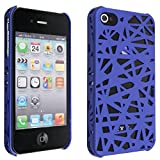 NiceEshop(TM) Dark blue Interwove Line Bird's Nest style slim Snap on Hard cover case fit for iphone 4 4G 4S+Free Screen Protector +Free niceEshop Cable Tie
