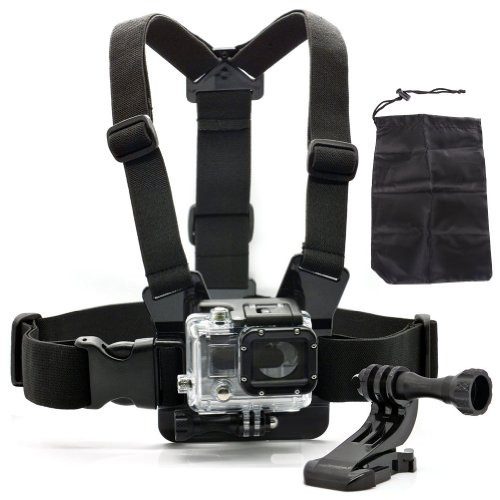 Masione™ Gopro Chest Belt/Strap Harness Mount+Aluminum Thumbscrew+J-Hook Mount Adapter +Carry Bag For Gopro Hero3+ 3 Plus Hero3 Hero2 1 Cameras Adjustable(Black)