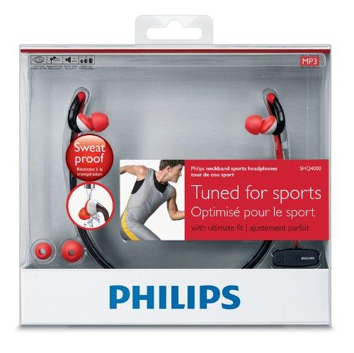 PHILIPS 抗菌防水仕様スポーツ向け ネックバンドヘッドフォン SHQ4000/98