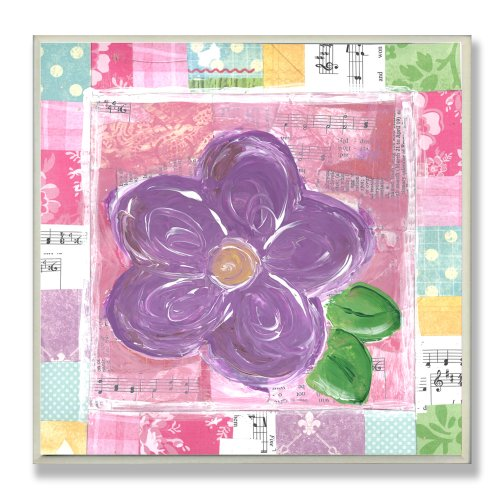 The Kids Room by Stupell Purple Flower with Patchwork Border Square Wall Plaque