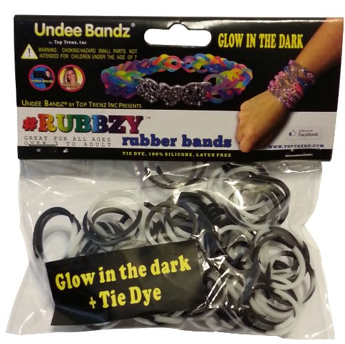 Rubbzy Glow in the Dark Black and White Loose Rubber Bands