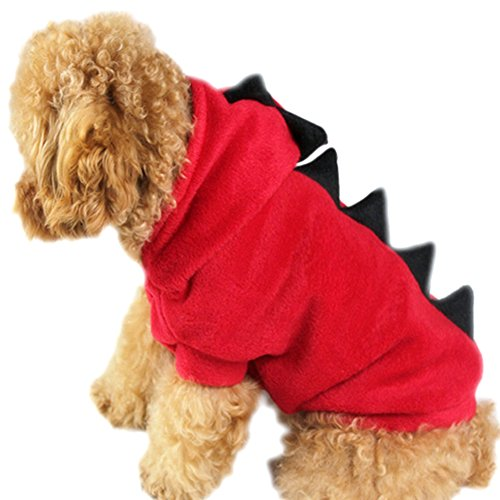 Sunlilee Pet Dog Puppy Cat Dinosaur Hooded Costumes Coat T shirt Clothes Apparel Red X-Large