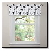 Lush Decor Milione Fiori Valance, Black/White