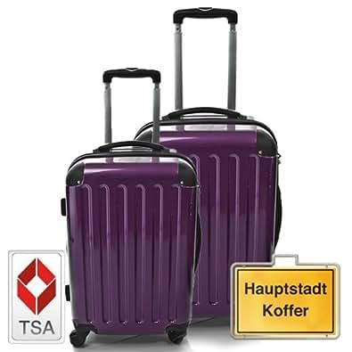 HAUPTSTADTKOFFER Jeu de 2 aubergine (87Liter/130Liter) étui rigide dans une combinaison de couleurs à haute brillance, TSA serrure à combinaison