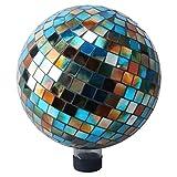 Alpine Mosaic Gazing Ball, 10-Inch, Blue/Amber