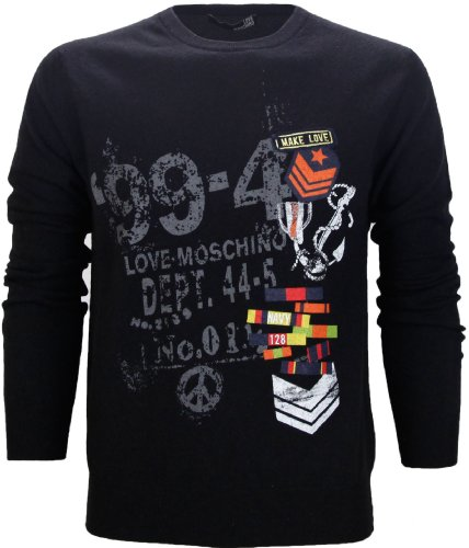 Moschino Men's Crew Neck Knitted Wool Jumper Black (XX-Large)