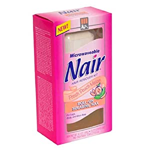 Nair Microwaveable Hair Remover Kit for Legs, Body, and Bikini Area, Roll-On Sugaring Wax, Fresh Peach Melon 1kit