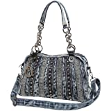 MG Collection DONNA Fashion Studded Blue Denim Purse Satchel Style Handbag