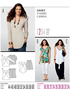 .com: Burda 7504 Sizes 18-34 Womens Shirt / Camisa: Home & Kitchen