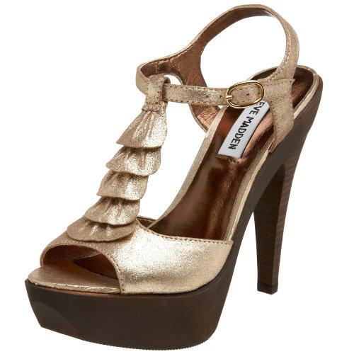 Steve Madden Women's Trufle Hi Heel Platform Ruffled T-Strap