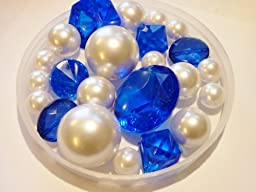 80 Unique Jumbo & Assorted Sizes Royal Blue/Cobalt Blue Diamonds & Gems and White Pearls Value Pack Vase Fillers. NOT INCLUDING THE TRANSPARENT WATER GELS FOR FLOATING THE PEARLS (SOLD SEPARATELY).