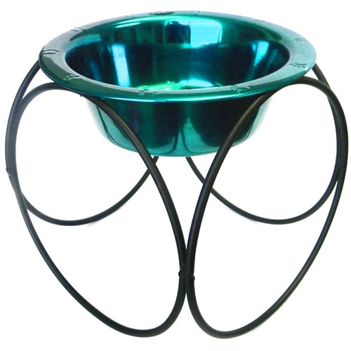 Olympic Dinner Stand w/ 64oz Stainless Steel Dog Bowl - Caribbean Teal
