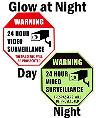 WISLIFE Video Surveillance Sign - Home Security Signs, No Trespassing Warning Sign by Wlislife
