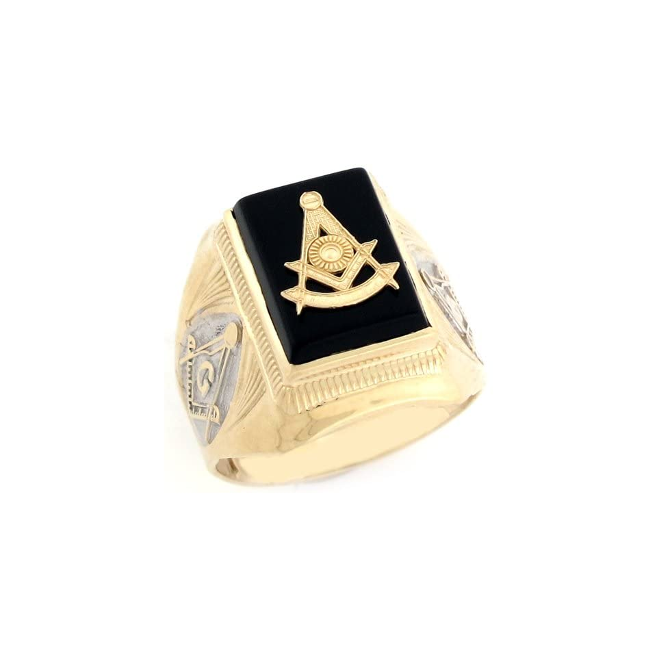 14k Two Tone Real Gold Past Master Freemason Masonic Onyx Mens Ring