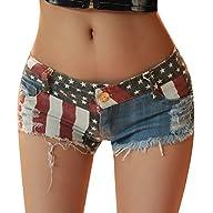 Women Sexy American US Flag Burr Ripp…
