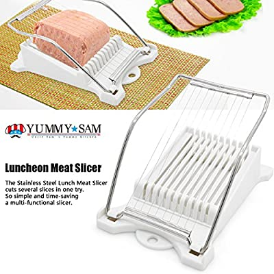 Luncheon Meat Slicer Yummy Sam® Cheese Slicer Boiled Egg Slicer Fruit Slicer Soft Food Slicer Sushi Cutter Canned Meat Slicer with 10 Cutting Wire in Stainless Steel