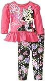 Disney Baby Baby-Girls Infant Disney's Minnie Girl Peplum Floral Legging Set, Pink, 18 Months