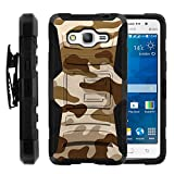 Galaxy Grand Prime Case, Galaxy Grand Prime Holster, Two Layer Hybrid Armor Hard Cover with Built in Kickstand for Samsung Galaxy Grand Prime SM-G530H, SM-G530F (Cricket) from MINITURTLE | Includes Screen Protector - Brown Camouflage