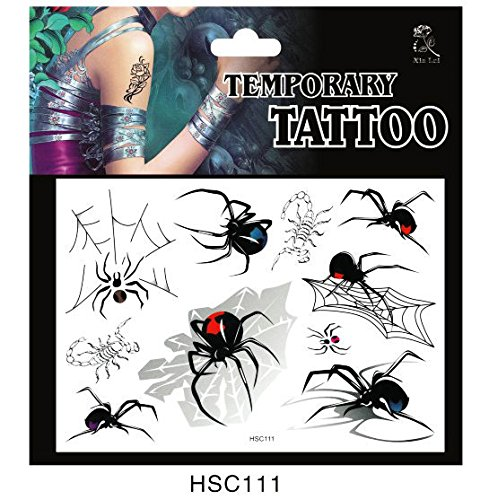 SYZ Beauty Waterproof Temporary Tattoos Spider Net Scorpion Tattoos
