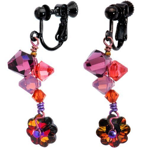 Handcrafted Pink and Lavender Posie Trail Clip Earrings MADE WITH SWAROVSKI ELEMENTS