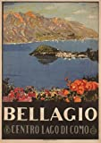 BELLAGIO, LAKE COMO Italy Travel Poster by Livio Apolloni 1926 A3 Matte Finish (297 x 420mm)