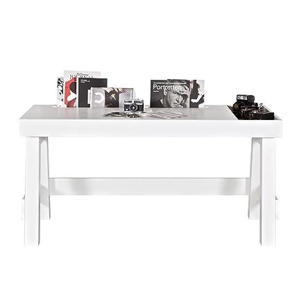 Design scrivania Grooving, in legno di pino, laccato bianco, Larghezza 150cm