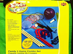 starts 5 game combo, volleyball, badminton, horseshoes, shuttle flight, flying disc