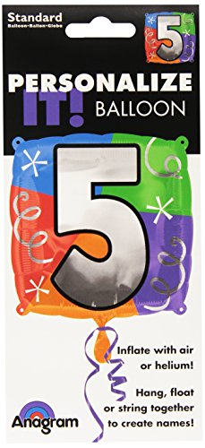 Anagram International Number 5 Quad Foil Package Balloon, 18""