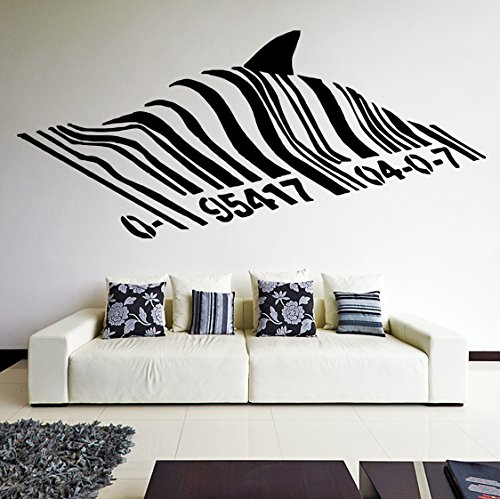 ( 20'' x 9'') Banksy Vinyl Wall Decal Barcode Shark / Swimming Fish Under Bar Code Graffiti Street Art Decor Removable Sticker Mural + Free Random Decal Gift!