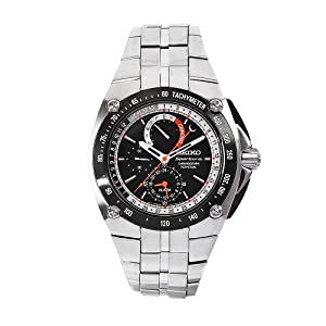 Buy Seiko Mens SPC047 Sportura Stainless Steel Black Chronograph Dial Watch by Seiko