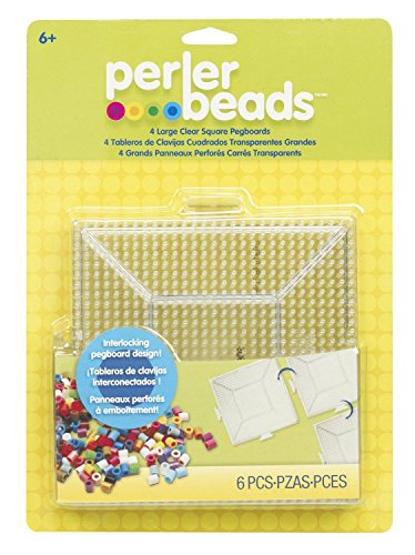 Perler-Beads-Clear-Square-Pegboards-4-Pack-New-Free-Shipping