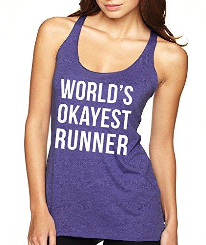 SignatureTshirts-Womens-Worlds-Okayest-Runner-Racerback-Tank-Top-M-Purple