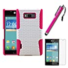 MINITURTLE, 2 in 1 Mesh Hybrid Dual Layer Hard Phone Case Cover, Stylus Pen, and Screen Protector, for Prepaid Android Smartphone LG Optimus Showtime L86C / L86G from Straight Talk and LG Splendor US730 from US Cellular (White / Pink)