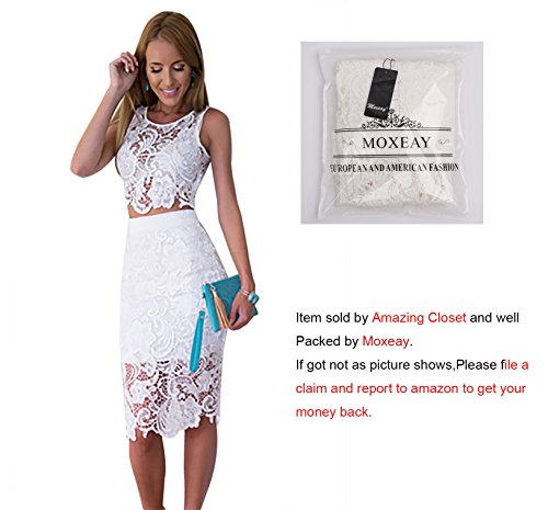 Moxeay® Sexy Sleeveless Lace Stitching Two Piece Cocktail Party Dress White Small