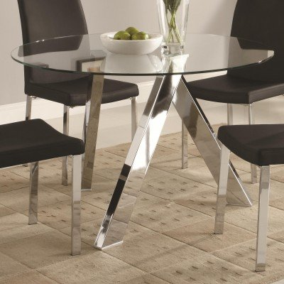 Cheap Coaster Vance Contemporary Glass-Top Dining Table with Chrome Base (B0062CJCE0)