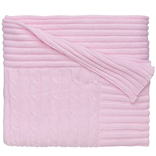Elegant Baby 100% Cotton, Wide Cable Knit Blanket with Wide Ribbed Border 36 x 45 Inch in Pastel Pink