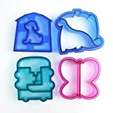 Lunch Bread Cake Sandwich Cutters Mold ,Set of 4,with Dinosaur/Dog/Car/Butterfly Shape