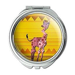 Geometric Giraffe Yellow Compact Purse Mirror