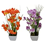 Thefancymart Artificial Tulip Flower Plant With PVC Pot_set Of 2 Style Code-75