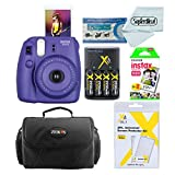 Fujifilm Instax Mini 8 Instant Film Camera (Grape) With Fujifilm Instax Mini Instant Film Twin Pack (20 Sheets) + Compact Bag Case + Batteries & Battery Charger