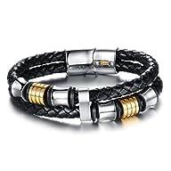 OPK Men Jewelry Braided Leather Wrap…