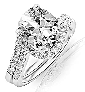 1.28 Carat Cushion Cut / Shape 14K White Gold Curving Pave & Prong-set Round Diamond Engagement Ring ( J Color , VS1 Clarity )